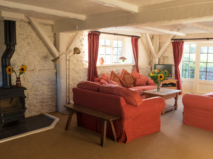 Sitting room in Dairy. Self catering for large group holidays in Devon