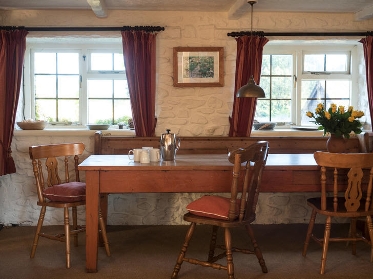 Dining room in Dairy. Self catering for large group holidays in Devon