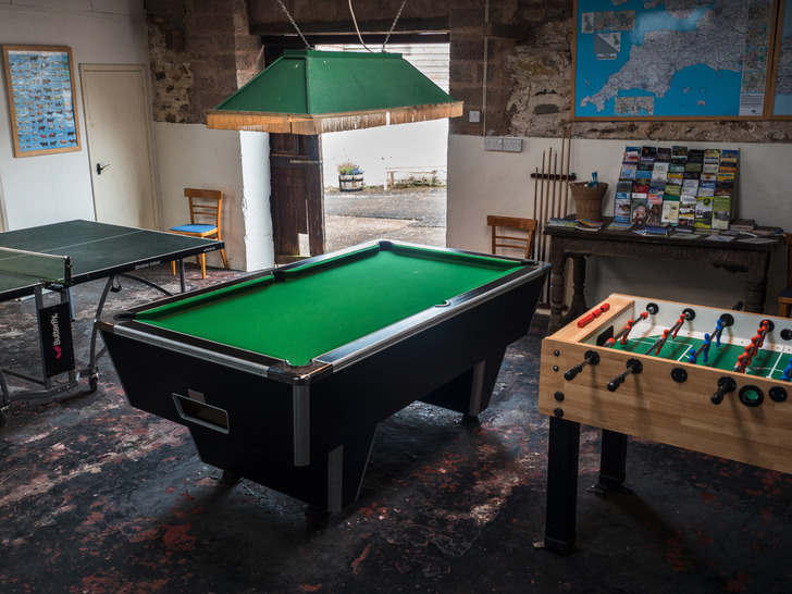Games room for large group self catering accommodation in Devon