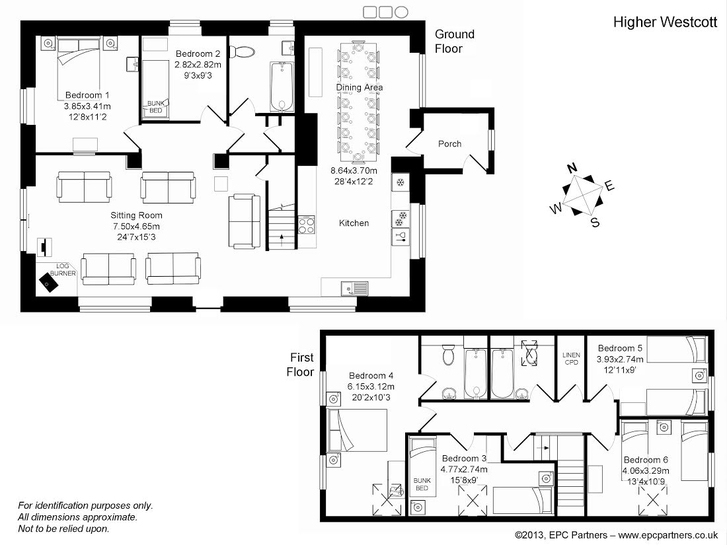 Floor plan for Higher Westcott self catering cottage for large groups in Devon