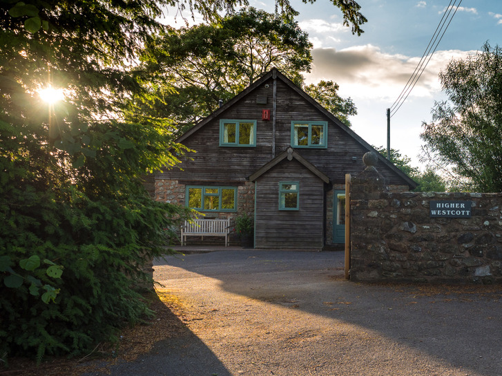 Entrance to Higher Westcott cottage. Self catering cottage for large groups in Devon