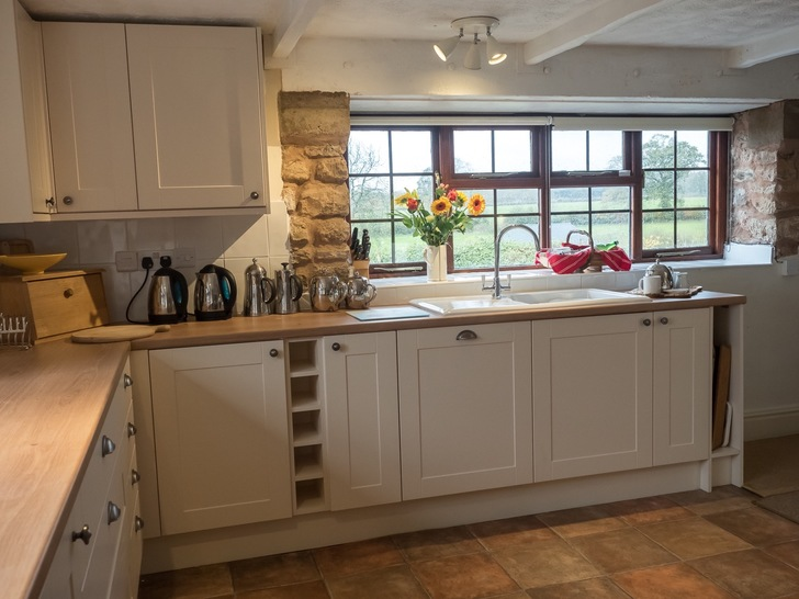 Kitchen in Higher Westcott cottage. Self catering holidays for large groups in Devon