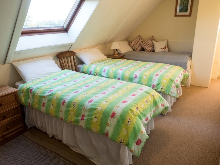 Triple bedroom in Dairy. Self catering holidays for large groups in Devon
